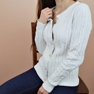 MILLY White Nautical Cardigan Sweater Button Front